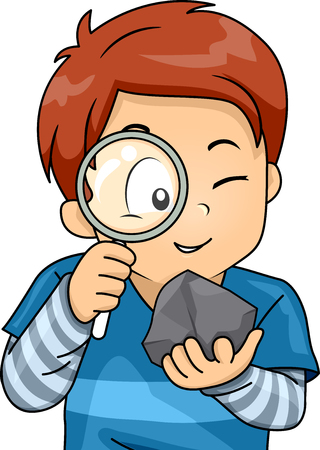Illustration of a Little Boy Using a Magnifying Glass to Examine a Rock