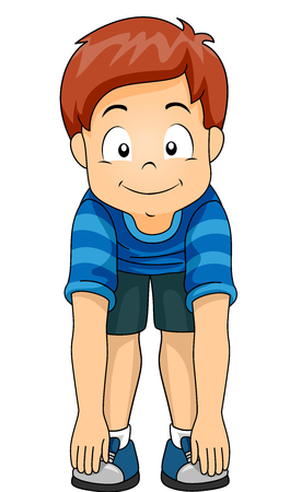 Illustration of a Little Boy Demonstrating the Different Body Parts by Touching His Toes