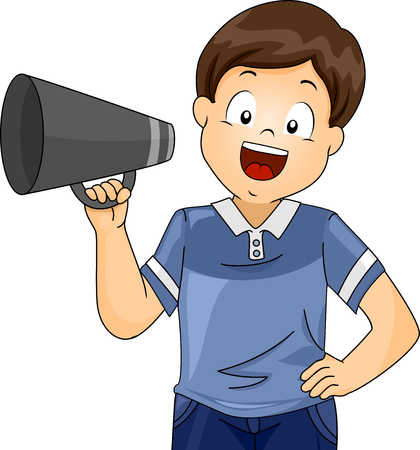 Illustration of a Kid Boy Director Holding a Megaphone