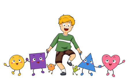 Illustration of a Kid Boy Holding Hands with Different Mascots of Common Shapes like Circle, Square, Triangle and Heart Stock Photo