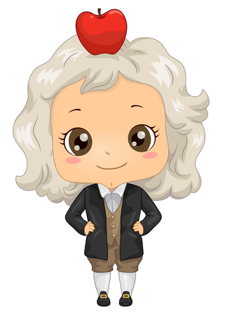 Illustration of a Kid Boy Wearing an Isaac Newton Costume with Apple on His Head Stock Photo