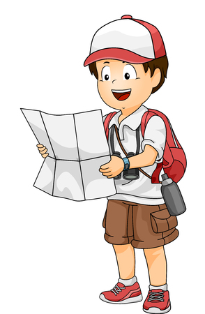 Illustration of a Little Boy in Full Travel Gear Consulting a City Map