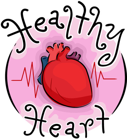 Illustration of a Healthy Heart Icon. Human Heart with Pulse Rate Symbol.