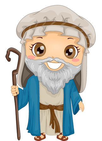 Bible Story Illustration of a Little Boy Role Playing Noah Wearing a Tunic and Holding a Staff Stock Photo