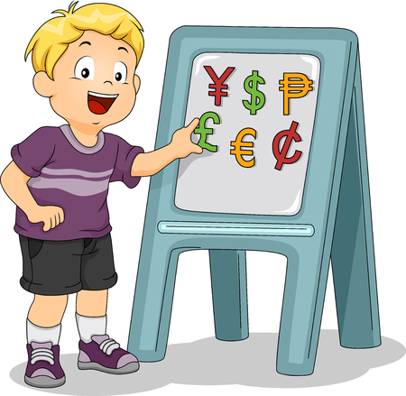 Illustration of a Little Boy Identifying Currencies Using a Magnetic Board