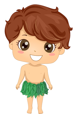 Bible Story Illustration of a Little Boy Role Playing Adam Wearing a Loincloth Made from Leaves Stock Photo