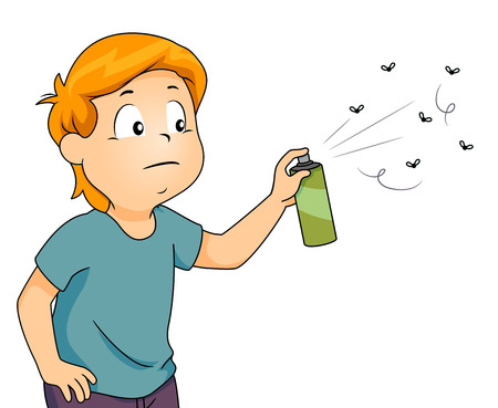 Illustration of a Little Boy With a Bothered Look on His Face Spraying Bugs With Insect Repellent Stock Photo