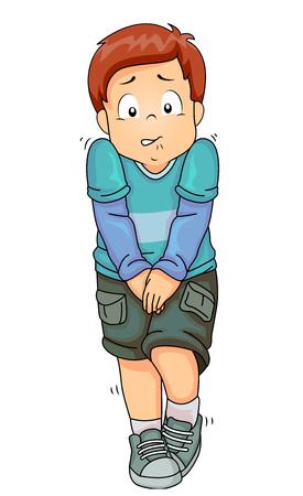 Ilustración de un niño que se sostiene en su pis Foto de archivo - 87819797