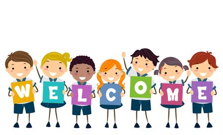 Illustration des enfants stickman dans l & # 39 ; uniforme scolaire tenant la carte de bienvenue Banque d'images - 87819800