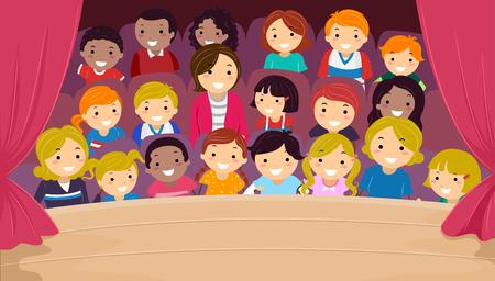 Illustratie van Stickman-kinderen en hun familie in het publiek die naar een voorstelling kijken