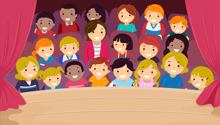 Illustration of Stickman Kids and Their Family in the Audience Watching a Show Stok Fotoğraf