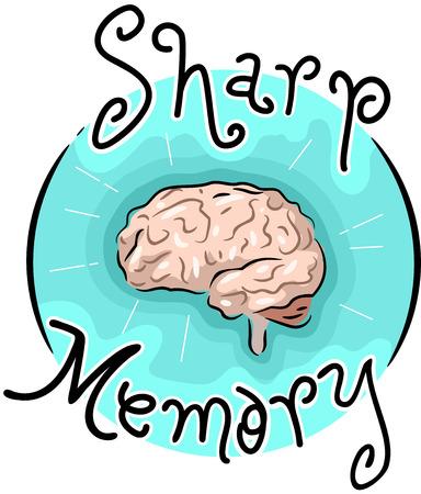 Illustration of a Sharp Memory Icon. Brain Illustration