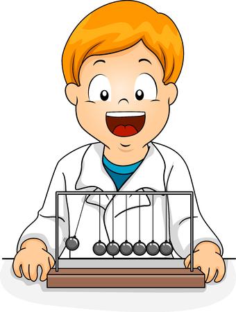 진자를보고 실험실 가운을 입고 아이 소년의 그림 스톡 콘텐츠