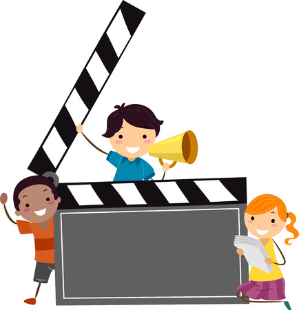 Illustration of Stickman Kids Holding a Blank Movie Clapper, Megaphone and Script