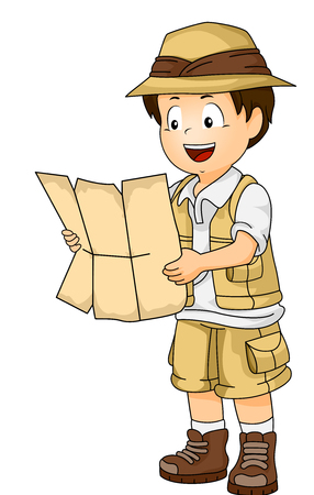 Illustration of a Little Boy in Full Safari Gear Reading the Contents of a Map