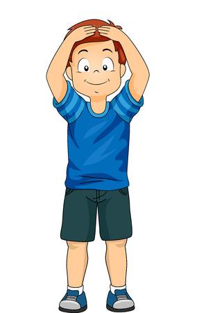 彼の頭に触れることにより別体パーツを示す小さな男の子のイラスト 写真素材