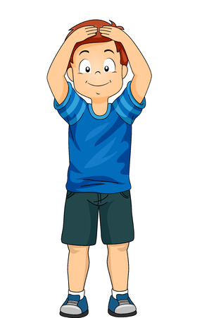 Illustration of a Little Boy Demonstrating the Different Body Parts by Touching His Head