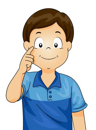 Ilustración de un niño pequeño que demuestra las diferentes partes del cuerpo señalando a su ojo