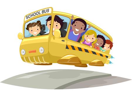 Illustration of Stickman Kids Riding a Futuristic Fantasy School Bus