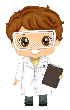 Illustration of a Kid Boy Wearing a White Lab Gown and Goggles while Holding a Clipboard