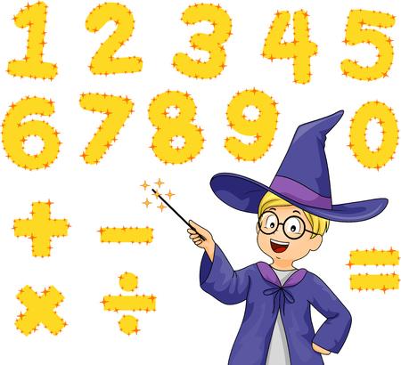 Ilustracja małego chłopca w kostiumie czarodzieja, wskazująca na cyfry i symbole matematyczne za pomocą różdżki