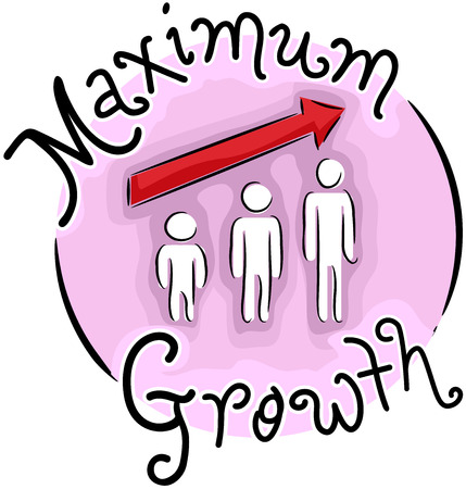 pointed arrows: Illustration of a Maximum Growth Icon. A Person Growing with Arrow Pointed Upwards Stock Photo