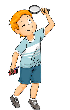 Illustration of a Little Boy Using a Magnifying Glass to Examine Something Above Him