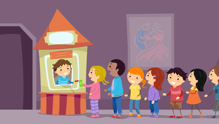 Illustration von Stickman-Kindern, die oben im Ticketing-Stand ausrichten