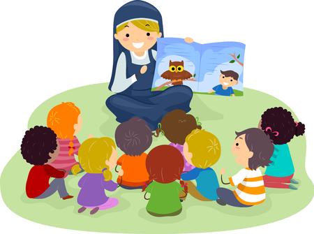 修道女の本からの物語を聞いてバッター子供たちのイラスト