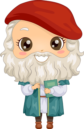 Illustration of a Kid Boy Wearing a Leonardo Da Vinci Costume Stock Photo