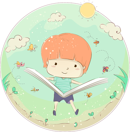Whimsical Illustration of a Little Boy Reading a Book About Insects Outdoors 版權商用圖片