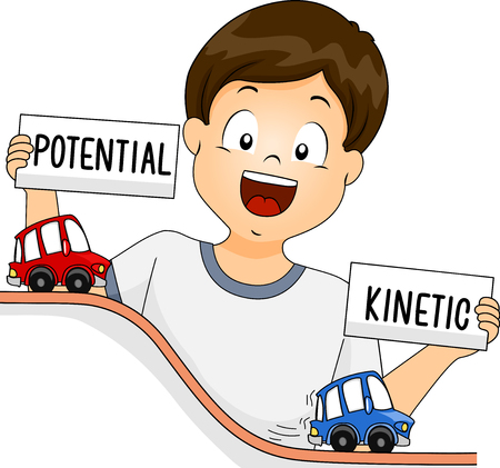 Illustration of a Kid Boy Holding Potential and Kinetic Energy Sign while Demonstrating Them using Toy Cars