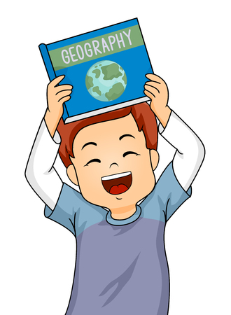 Illustration of a Little Boy Smiling Happily While Showing His New Geography Book