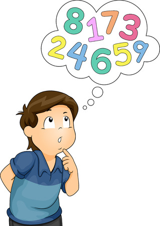 Illustration of a Thinking Boy With a Thought Balloon Filled With Numbers Hovering Over His Head