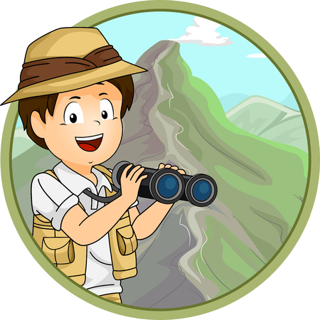 Icon Illustration of a Little Boy in Safari Gear Using a Pair of Binoculars to Observe a Mountain Ridge