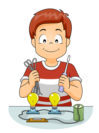 science class: Illustration of a Kid Boy Demonstrating a Battery Powering Light Bulb