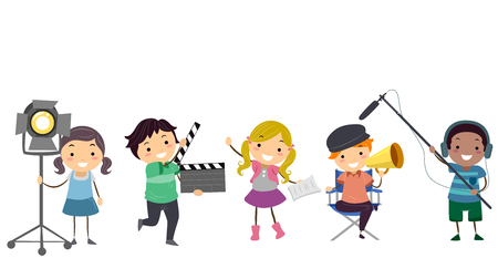 Illustration of Stickman Kids in Different Theater Roles from Director to Actor, Gaffer to Boom Operator 스톡 콘텐츠