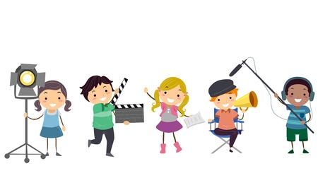 Illustration von Stickman-Kindern in den verschiedenen Theater-Rollen von Direktor zu Schauspieler, von Oberhaus zum Hochkonjunktur-Betreiber Standard-Bild