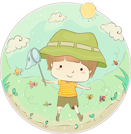 Illustration of a Little Boy Carrying a Butterfly Net Happily Running After Insects