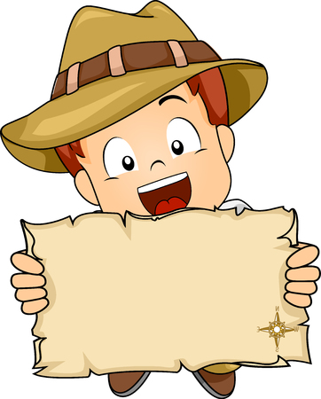 Illustration of a Little Boy in Full Safari Gear Stretching an Old Blank Map Made from a Paper Scroll