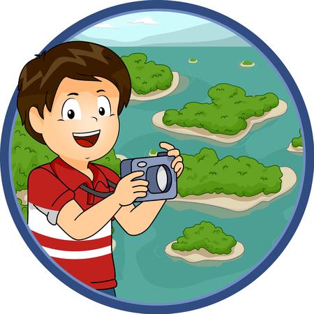 Illustration eines kleinen Jungen, der Fotos von den Inseln verstreut über einem Archipel macht Standard-Bild - 87819895