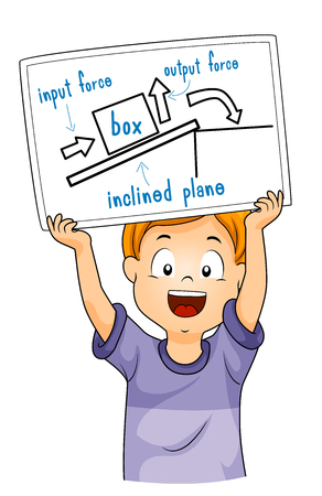Illustration of a Kid Boy Holding a Drawing Explaining Inclined Plane