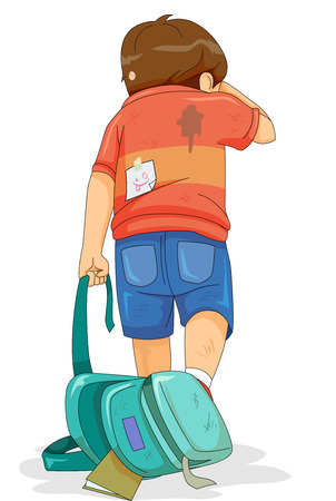 Illustration of a Kid Boy Dragging His School Bag Home while Crying. Victim of Bullying.
