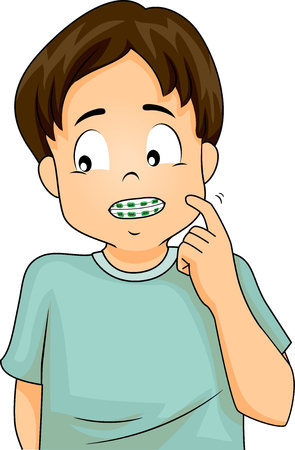 Illustration of a Shy Little Boy in Dental Braces Fiddling with His Cheek