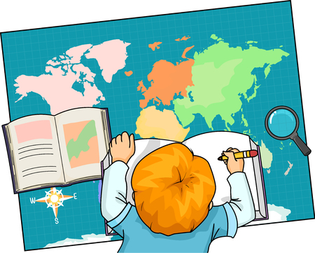 Geography Illustration of a Little Boy Writing Notes While Using a Map of the World for Reference