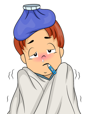Illustration of a Feverish Boy With a Thermometer in His Mouth, an Ice Pack on His Head, and a Blanket Wrapped Around Him