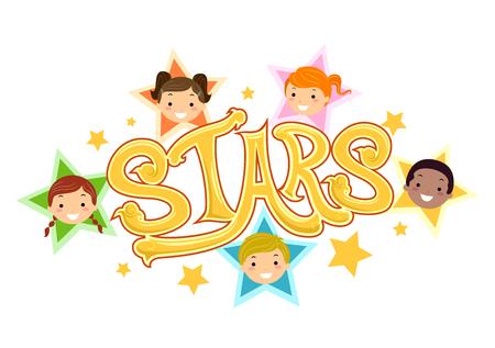 Illustration of Stickman Kids as Stars Design
