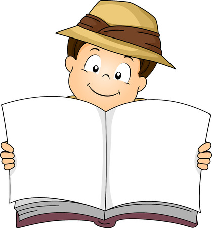 Illustration of a Little Boy in Safari Gear Smiling While Holding a Blank Book Wide Open