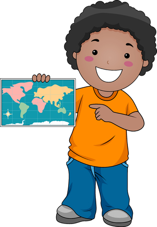 Geography Illustration of a Little Boy Pointing to Locations on a Map of the World