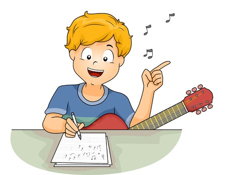 Illustration of a Little Boy with a Guitar Writing the Lyrics of a Song While Humming a Tune Stock Photo